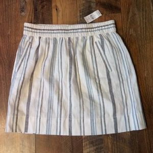 LOFT Skirt w/ Pockets Stripes Elastic linen Career
